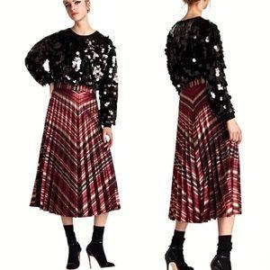Zara Metallic Red Pleated High Waisted Midi Skirt